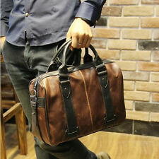 Men's Vintage Brown Leather Handbag Business Bag Shoulder Laptop Bag Briefcase