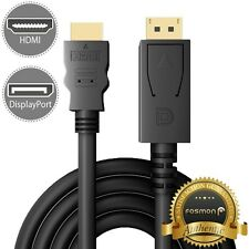 Fosmon 6FT DP DisplayPort to HDMI Cable Gold Plated 1080p Full HDTV [UL Listed]