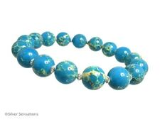Aqua Blue & Cream Sea Sediment Impression Jasper & Sterling Silver Bracelet