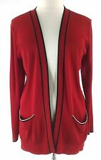 Marie St Monet Collection Cardigan 2X red black santana knit open pocket sweater