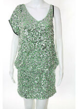 Pinko Silver Green Sequin Asymmetric Cocktail Dress Size 4