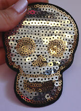 skull patches sequin applique patch motif sew on iron on sewing badge UK