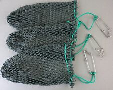 THREE Heavy Poly Mesh Crab Bait Bags with Stainless Steel Clip Crab Bag