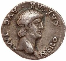 NERO, Lugdunum 60 AD Authentic Ancient Roman Silver Coin Artistic Portrait RARE!