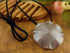 Huge Tibetan Silver Spiral Circle 8 Petal Shaped Medallion Pendant Necklace