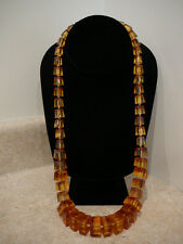 S2 ANTIQUE VINTAGE HONEY AMBER GRADUATED BLOCK BEVEL SQUARE BEAD CHUNKY NECKLACE