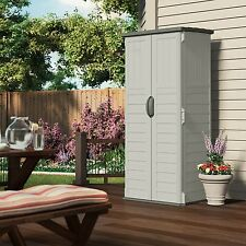 Outdoor Storage Cabinet Shed Garden Tool Backyard Pool Upright Gray Resin Yard