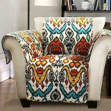 BLUE ORANGE GRAY MODERN GLOBAL IKAT CHAIR FURNITURE PROTECTOR SLIPCOVER