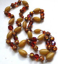 Vintage Art Deco Venetian Millefiori Foil Glass Bead Necklace