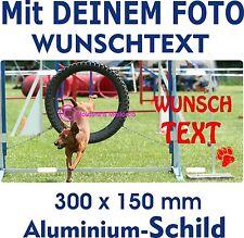 Hunde Schild eigenes FOTO Wunschtext Name Logo Aluschild Warnschild rostfrei