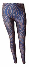 New Womens Polyester Stretch Patterned Low Rise Leggings Blue With Pink Swirls