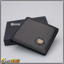 deluxe CADILLAC Genuine 100% Cow Leather Bifold Wallet Men Slim Purse Car Pouch