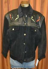 MARCIANO for GUESS Black Vintage Leather Suede South Western Jacket Womens Large