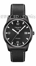 TISSOT MEN'S PR 100 QUARTZ BLACK DIAL BLACK LEATHER STRAP FREE UK DELIVERY