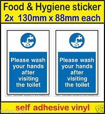 2x Food Hygiene Signs please your wash hands after visiting the toilet Stickers