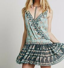 3104 New Free People FP One Plunging V Neck Floral Printed Rosa Twist Dress XS