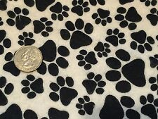 Fabric Dogs Paws Black on White Flannel 1 Yard