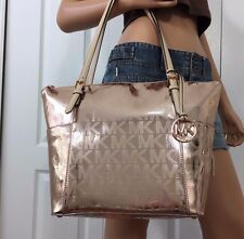 NWT MICHAEL KORS LEATHER JET SET EW MK SIGNATURE TOTE SHOULDER BAG PURSE PINK