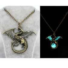 Mens Glow in the Dark Retro Dragon Pendant Necklace Silver Chain Jewelry Gift
