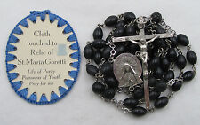 † RELIC CLOTH BADGE ST GORETTI PATRON OF RAPE & VINTAGE STERLING BLACK ROSARY †