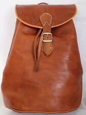069 Large Vintage Style Real Genuine Leather Bag Rucksack Backpack Brown Tan z