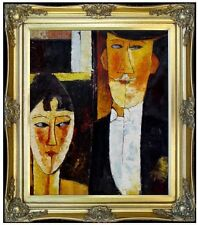 Framed Amedeo Modigliani Bride and Groom Repro Hand Painted Oil Painting 20x24in