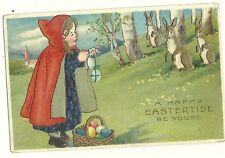 Little Red Riding Hood basket colored eggs Easter bunny rabbit Postcard red cape