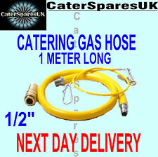 "YELLOW GAS HOSE FOR COMMERCIAL USE 1 METER LONG CATERING EQUIPMENT PIPE 1/2"" 1M"