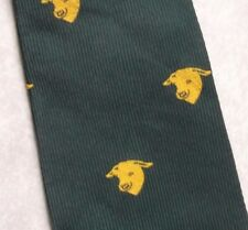 BULLS HEAD CREST MOTIF TIE COW COMPANY CORPORATE VINTAGE FARMING 1970s GREEN
