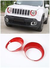 ABS Head Light Lamp Cover Frame Trims for Jeep Renegade 2015-2016 2 pcs-Red