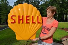 """OLD STYLE LARGE 30"""" SHELL MOTOR OIL EMBOSSED POLYRESIN SIGN USA MADE SUPER PIECE"""