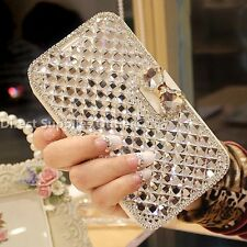 Luxury Bling BowKnot Crystal Diamond Wallet Flip Case Cover For iPhone/ Samsung