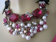 BETSEY JOHNSON FABULOUS FUCHSIA CRYSTAL & PEARL CLUSTER STATEMENT NECKLACE~RARE