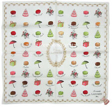 LADUREE French Paris Macaron Multicolor Cotton Pretty Mini Scarf White New
