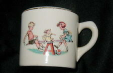VINTAGE CERAMIC CHILD'S MUG, CUP w CHILDREN ON SEE-SAW, CUTE, RETRO
