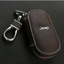 Brown Genuine Leather cowhide Car Key Holder Keychain Ring Case Bag For Jeep