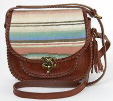 PENDLETON Wool Blanket Inset Leather Western Crossbody Saddle Bag Shoulder Bag