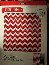Accellorize Ipad Case For Ipad Air Snap-On Back Protector Case-Red Zigzag NEW
