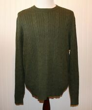 Eddie Bauer Men's Large Cable Knit Pullover Olive Green Crewneck Cotton Sweater