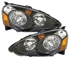 02-04 Acura RSX DC5 Type R JDM Black Housing Head Lights by DEPO Pair OE style