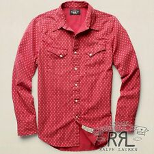 $245 RRL Ralph Lauren PRINTED RED SOARING ARROW COTTON WESTERN SHIRT- MEN- M