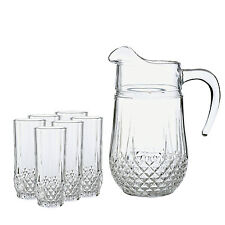 NEW CRISTAL D'ARQUES LONGCHAMP 7 PIECE DIAMAX CRYSTAL WATER JUG AND TUMBLER SET
