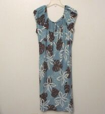 Pumehana Seafoam & Brown XXL MuuMuu Patio Dress Elastic Neckline Made in Hawaii