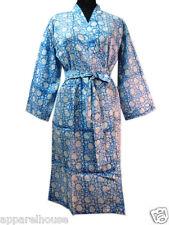 Hand Block Printed Cotton Kimono Sexy Bathrobe Women Robe Kimono Dress Nightgown