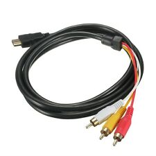 NEW 5 Feet 1080P HDTV HDMI Male to 3 RCA Audio Video AV Cable Cord Adapter GU