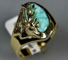 14K Gold Old Pawn Vintage Men's PERSIAN Turquoise Custom DEER Ring Sz 12.5