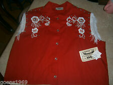 1849 Ranchwear Western Riding Red White Frindge Beaded Size XL Vest NWT $74.95