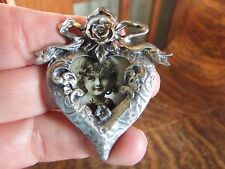 NEW PEWTER VICTORIAN STYLE HEART & ROSE MINIATURE PICTURE FRAME PIN, BROOCH