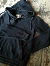 H&M L.O.G.G  M MEDIUM PONCHO HOODIE POUCH PULL OVER NAVY BLUE SWEATER