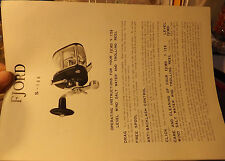 VINTAGE FJORD S-106 TROLLING FISHING REEL PAPER W/ SCHEMATICS
